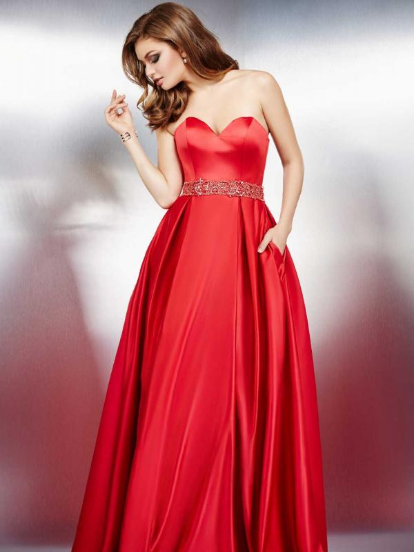 Strapless Red Sweetheart Dress