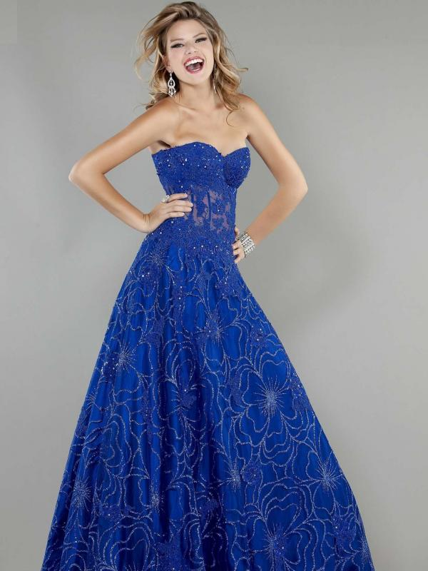 Royal Strapless Evening Gown