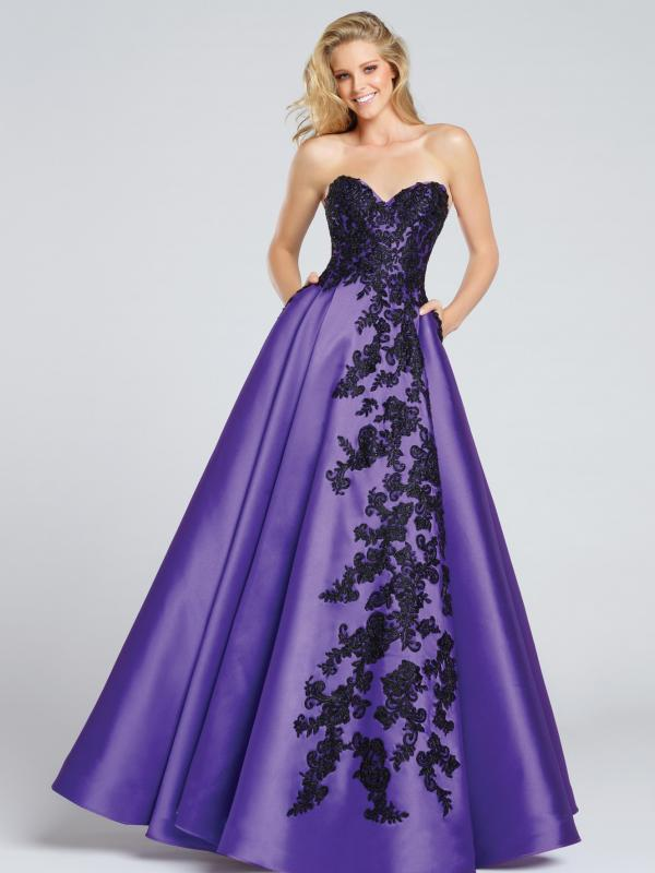 Mikado Lace Strapless Ball Gown