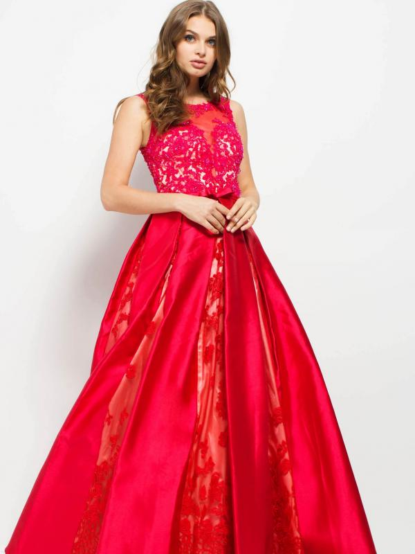 Crimson Lace Embellished Bateau Ball Gown