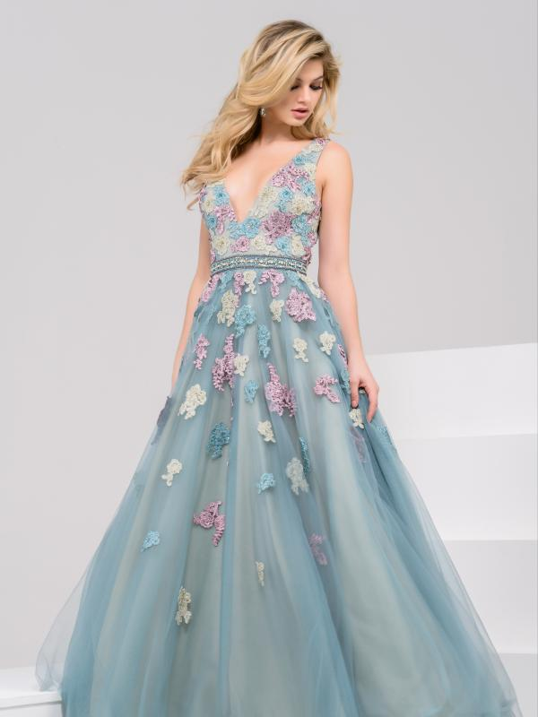 V Neck Floral Embroidery Ball Gown