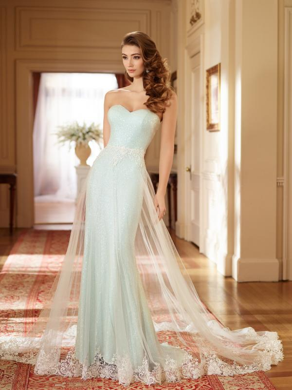 Sheer Cascade Bridal Gown