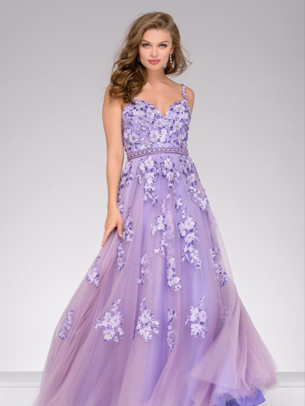 Lavender Lace Applique Prom Ball Gown