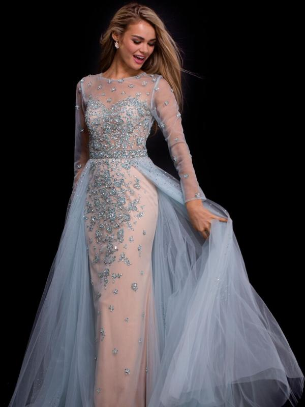 Beaded Tulle Long Sleeve Gown
