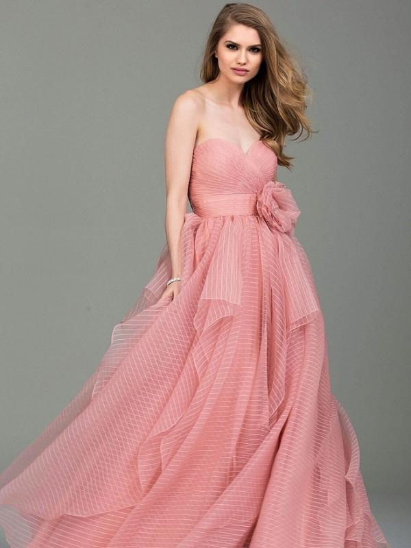 Blush Strapless Tulle Layered Ball Gown