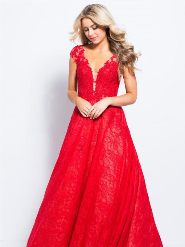 Red Pleated A-line Gown