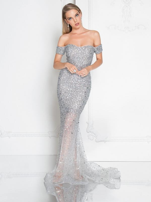 Beaded Off the Shoulder Silver Gown