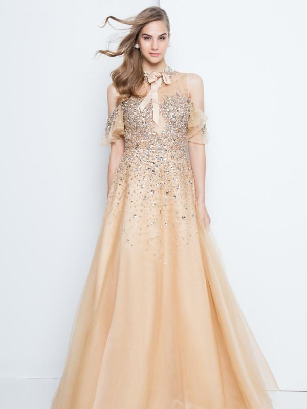 Champagne A-Line Cold-Shoulder Gown