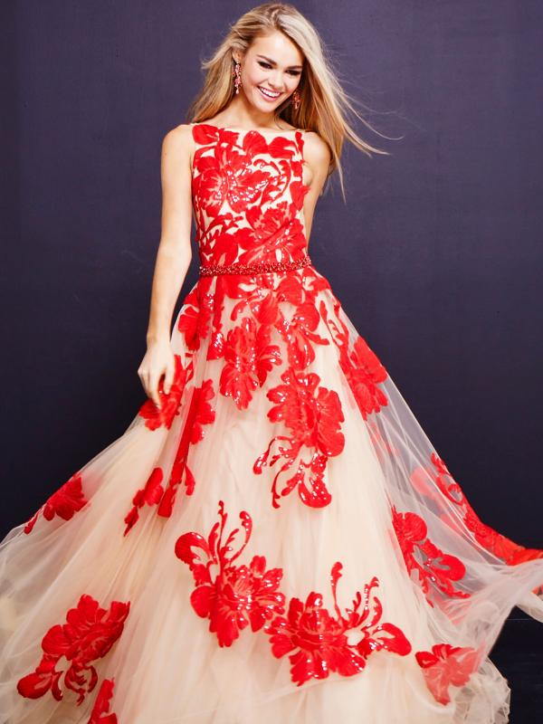 Bateau Floral Beaded Tulle Gown