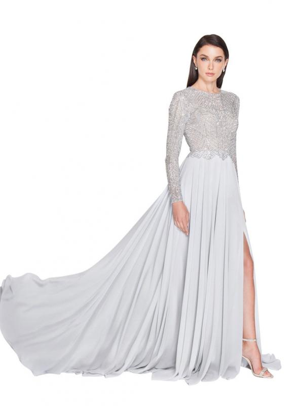 Shimmering Long Sleeve Evening Gown