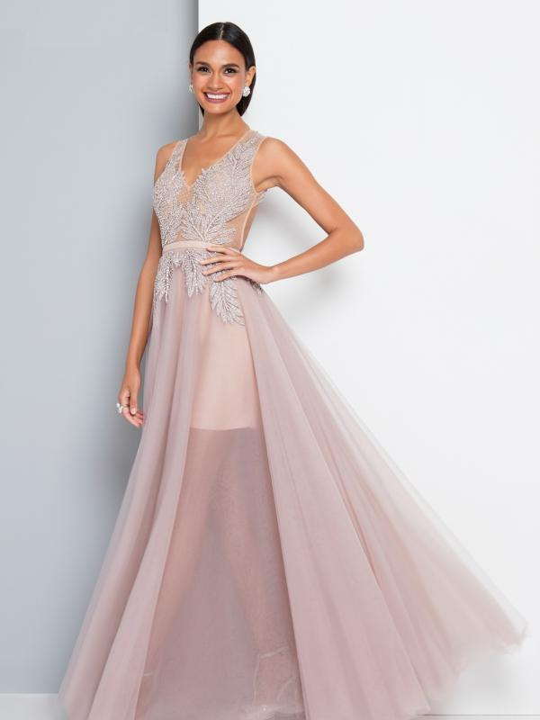 Blush Embroidered Evening Gown