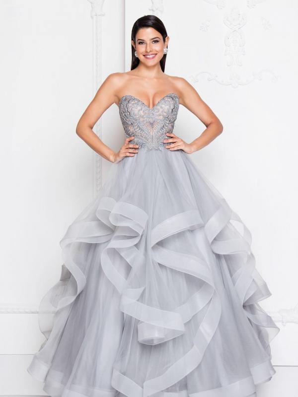 Strapless A-Line Gown with Tulle Layers