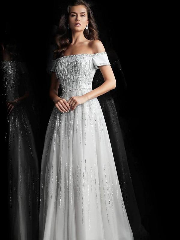 Silver Off the Shoulder Evening Dress