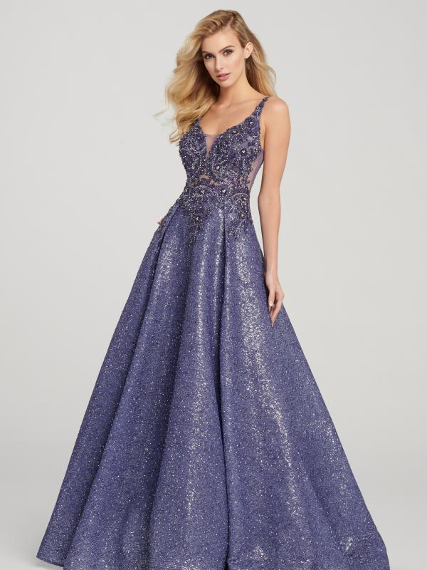 Beaded Sequin Lace Full A-line Gown