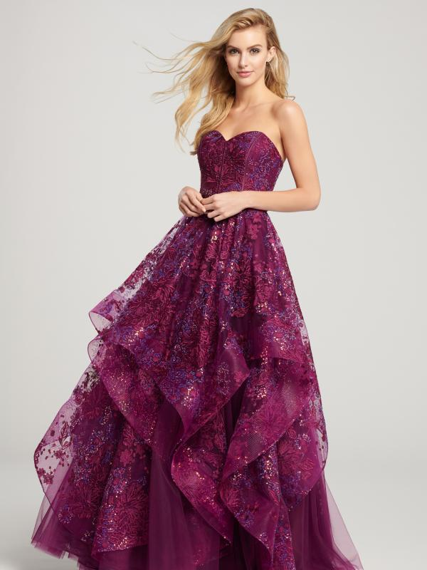 Strapless Sweetheart Embroidered Lace Gown