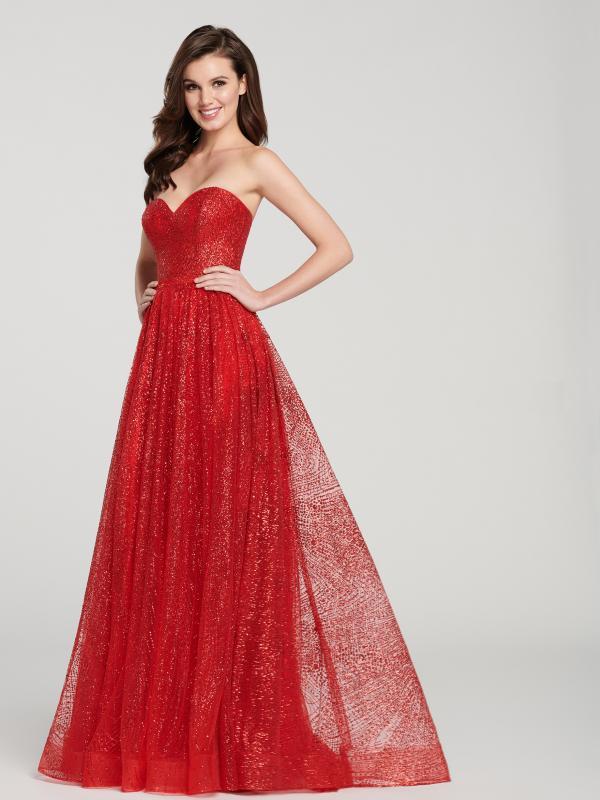 Red Sweetheart A Line Evening Dress