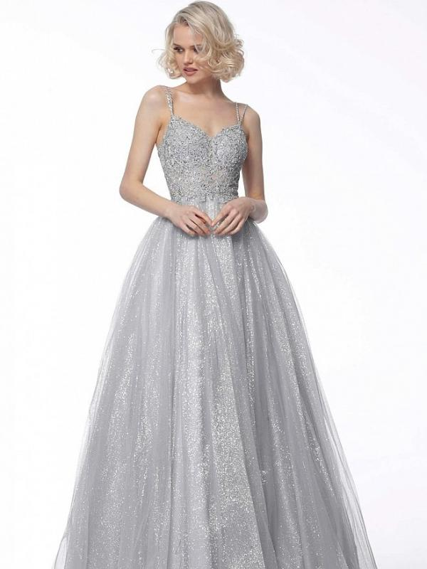 Silver Embroidered Bodice Ball Gown