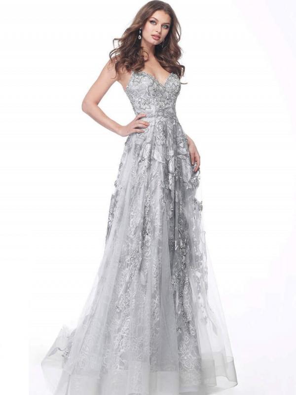 Silver Embellished Spaghetti Straps Evening Dress