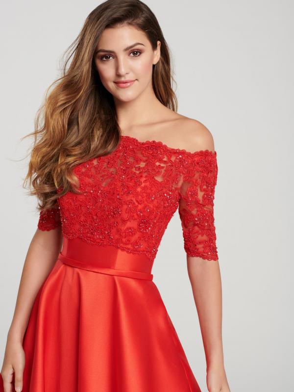Red Sweetheart A Line Two pieces Evening Gown