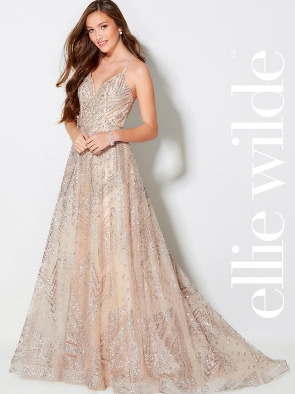Light gold/champagne sexy low back evening gown